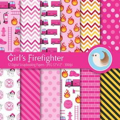 Firefighter Digital Paper  Fireman Paper  by CinnamonDove on Etsy