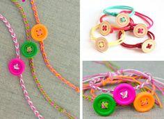 Riutilizzare i bottoni - Braccialetti colorati creati con i bottoni #buttons #DIY #recycle #bracialet #accessory