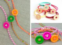 Riutilizzare i bottoni - Braccialetti colorati creati con i bottoni #buttons #DIY #recycle #bracialet #accessory