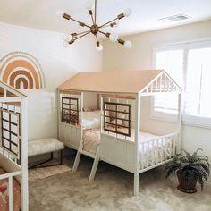 Twin Girl Bedrooms, Little Girl Rooms, Girls Bedroom, Bedroom Ideas, Toddler Room Decor, Toddler Rooms, Baby Rooms, Kids Rooms, Rainbow Bedroom
