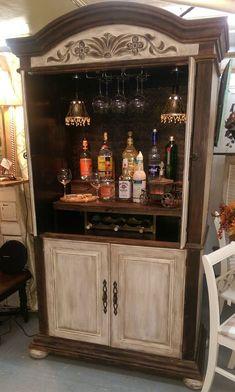 65 armoire bar cabinet coffee station wine cabinet rustic bar 45 « Home Design Refurbished Furniture, Bar Furniture, Repurposed Furniture, Furniture Projects, Furniture Makeover, Leather Furniture, Coffee Bar Home, Home Coffee Stations, Bar Armoire
