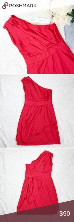 ***NWT*** BCBGeneration Dress NWT BCBGeneration Dress Size 4 NEW WITH TAGS Gorgeous coral color!  One shoulder!  Measurements: - Shoulder to hem: 33 in. - Armpit to hem: 24 in. - Bust: 15.5 in. - Waist: 13.5 in. - Waist to hem: 18 in.  Materials: - 100% polyester  MAKE AN OFFER!!! BCBGeneration Dresses One Shoulder