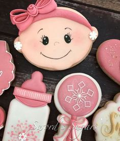 Baby Girl Cookies, Cookies For Kids, Baby Shower Cookies, Royal Icing Cookies, Sugar Cookies, Cookies Et Biscuits, Baby Shower Themes, Baby Boy Shower, Shower Ideas