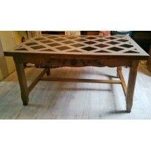 Table de ferme aux motifs géométriques #table #vintage #ferme #motif #géométrique #blanc #noir