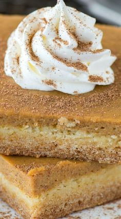 Easy Pumpkin Pie Bars ~ Amazing... with a classic pumpkin pie filling and a 2 ingredient cake mix crust.
