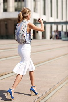 wedges and a white mermaid skirt