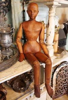 hand carved french artists model doll
