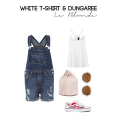 White t-shirt and Dungaree. Buy this outfit here!