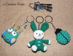 ON SALE set of 3 keychains owl bunny ladybug by raducristina