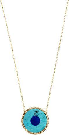 Jennifer Meyer Diamond, Turquoise & Lapis Evil Eye Pendant Necklace - as seen on Cara Delevingne