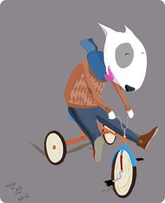 Bull-terrier riding a tricycle… It could happen.