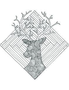 Coloriage Gratuit Par Chocobo Chevreuil Geometrie