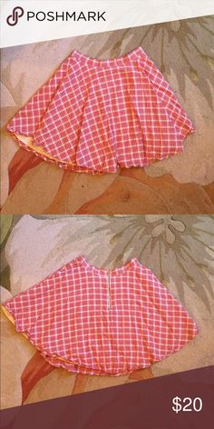 """Franscesca's- Red Plaid Skirt Adorable red plaid skirt from Franscesca's! In great used condition!! Waist: 25"""" , the length hits upper thigh on me and I am 5'6""""! :) Francesca's Collections Skirts Mini"""