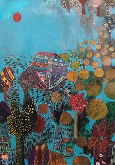 """Fumiko Toda, """"Candy Trees""""; mixed media painting."""