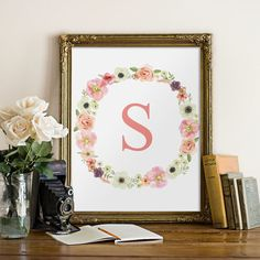 Nursery initial floral kids wall art monogram by TwoBrushesDesigns