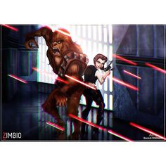 """Bahahaha! Belle's stance/head looks off but the concept is hilarious! """"Work work work! The Star Wars pieces I did for Zimbio are officially live! These were so fun to work on!! Here are The Beast and Belle as Chewbacca and…"""""""