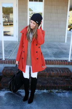 white denim // rust coat // winter style