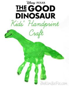 Create these The Good Dinosaur Movie inspired handprint dinosaurs.  Also includes free printable coloring and activity sheets