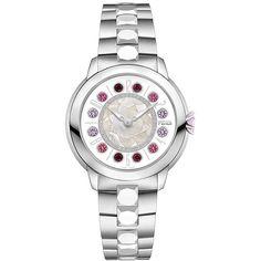 Fendi Fendi Ishine watch ($3,835) ❤ liked on Polyvore featuring jewelry, watches, white, fendi, stainless steel jewellery, buckle watches, white jewelry and white watches