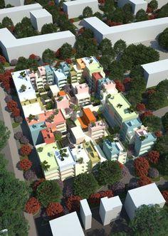 Proposta Vencedora para Habitação Urbana Híbrida,© MVRDV