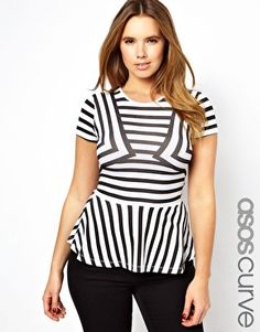 ASOS CURVE Exclusive Peplum Top In Stripe.. I used to hate Peplums.. but what a way to show off my curves.. I love this one!