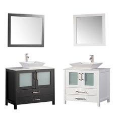 This Single Sink Modern Bathroom Vanity is made out of Solid Oak Wood Cabinetry, Overmount Porcelain Sink, Quartz Stone Countertop, 2 soft closing full extensi Asian Bathroom, Single Sink Bathroom Vanity, Modern Bathroom, Bathroom Vanities, Bathrooms, Vanity Set With Mirror, Solid Oak, New Homes, Contemporary