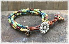 Seed Bead Leather Wrap Bracelet/ Multi color Leather Wrap Bracelet/ Beaded Leather Wrap Bracelet/ Boho Leather Wrap Bracelet/ Gift For Her.