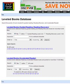 A to Z Teacher Stuff Leveled Books Database