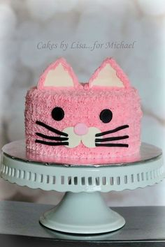 Pink Buttercream Cat Cake: Cakes By Lisa.for Michael . Pink Buttercream Cat Cake: Cakes By Lisa.for MichaelCheck Out These 7 Inspirational Cat Cake Toddler Birthday Cakes, Birthday Cake For Cat, Pink Birthday Cakes, 7th Birthday, Birthday Ideas, Kitty Party, Decoration Patisserie, Animal Cakes, Occasion Cakes