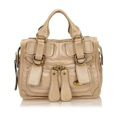 Pre-Owned Chloe Leather Bay ($353) ❤ liked on Polyvore featuring bags, handbags, shoulder bags, neutral, genuine leather shoulder bag, chloe purses, shoulder strap handbags, real leather handbags and beige purse