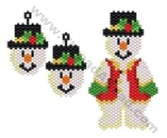 Snowman Pendant and Earring Bead Pattern By ThreadABead