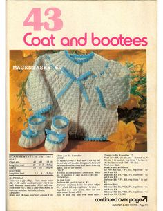 Vintage baby cardigan matinee coat booties bootees knitting pattern newborn PDF instant download