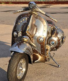 Steampunk Vespa Piaggio scooter modded by greek artist is eye candy