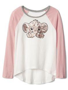 Gap Girls Gapkids | Disney Embellished Hi-Lo Raglan Tee Pink Standard