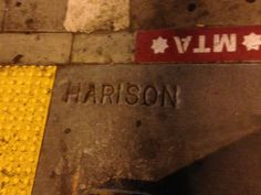 Harrison's missing an R at the corner of Harrison and 3rd. Read the full post here: http://urbanhikersf.blogspot.com/2013/09/concrete-mixer-upper-sidewalk-mistakes.html