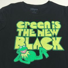 Muppets Green Is The New Black Kermit The Frog T-Shirt 2008 Juniors Size XL #Muppets #TShirt #EverydayCasual Kermit The Frog, Frog T Shirts, Ebay Clothing, Sweatshirts, Casual, Green, Top, Clothes, Black