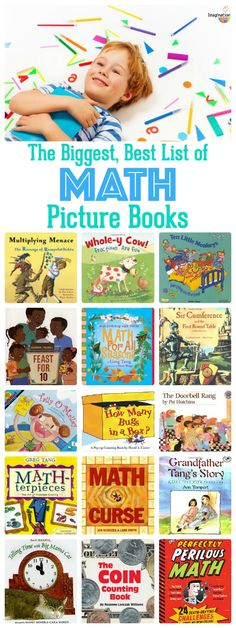 the biggest, best list of math picture books -- 90 titles in all!!