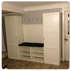 Mudroom cabinetry, but with a storage bench in the middle.