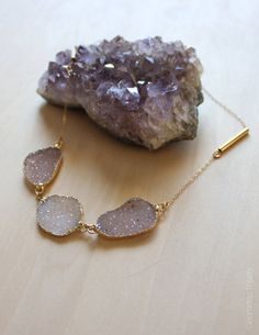 Druzy ThreeStone Collar Gold by GeometricTheory on Etsy
