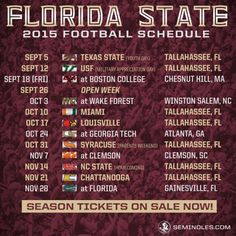 fsu 2015 schedule | Here's Your First Look at the 2015 FSU Football Schedule