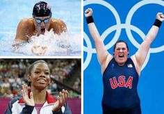 Image: (Clockwise from top left) Ryan Lochte, Sarah Robles & Gabby Douglas of the US at the 2012 Summer Olympics in London (© Robert Beck/Sports Illustrated/Getty Images; Thomas Coex/AFP/Getty Images; Jamie Squire/Getty Images)