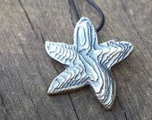 STARFISH PENDANT, sterling silver cast into carved cuttlefish bone, lovely natural texture. Each piece I make is unique!