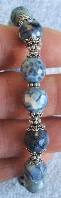 Denim Blue's Stone Sterling Silver Bracelet  by dmfsparkles, $52.00