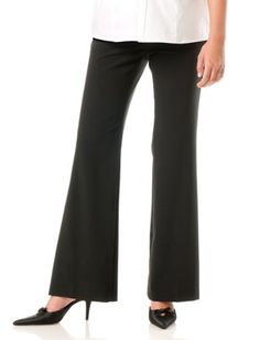 Motherhood Maternity: Petite Secret Fit Belly(tm) Bi-stretch Suiting Fit And Flare Maternity Pants $34.98