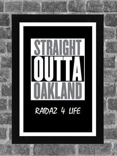 Oakland Raiders Straight Outta Compton NWA Tribute Sports Print Art 11x17  • • • • • • • • • • • • • • • • • • • • • • • • • • • • • • • •  Please note the border. Poster is ready for framing and printed on high-quality photo paper. We use only archival quality paper and inks.  • • • • • • • • • • • • • • • • • • • • • • • • • • • • • • • •  All prints are carefully packed for shipping with soft tissue wrapping and durable tubing.