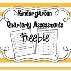Kindergarten Quarterly Assessments {freebie}    Concepts Covered: letter id, sight words, number id, place value,  2D shapes, 3D shapes, addition, su...