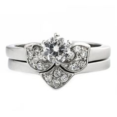 Paige: Floral designed 0.71ct Russian IOF CZ 2 pc Wedding Ring Set