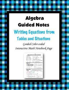This is a guided, color-coded notebook page for the interactive math notebook on writing equations from tables and situations.Blackline master and color-coded answer key included.** My Interactive Note Pages include all or some of the following: step by step color-coded notes, diagrams, graphic organizers and example problems.My Interactive Math Notebook Pages were designed to use in my IMN.