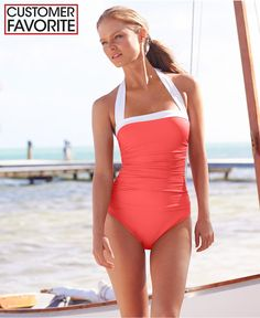 688e41aa6e Lauren Ralph Lauren Ruched Tummy-Control Halter One-Piece Swimsuit -  Swimwear - Women