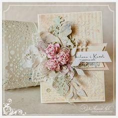 card vintage flowers leaves prima doily  Ajgacia